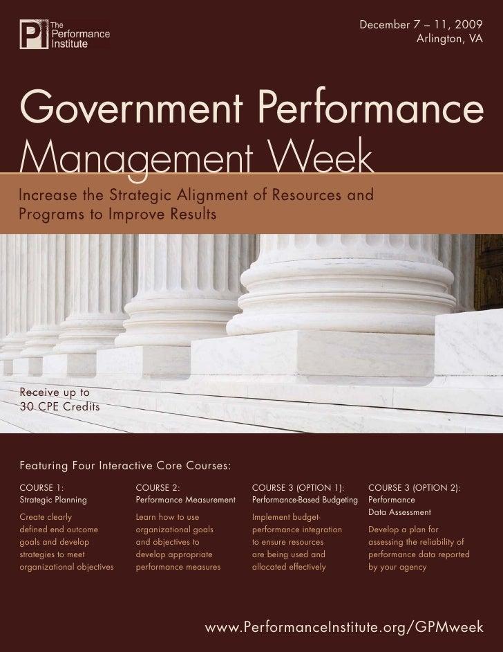 Government Performance December 7 – 11, 2009                                                                      Manageme...