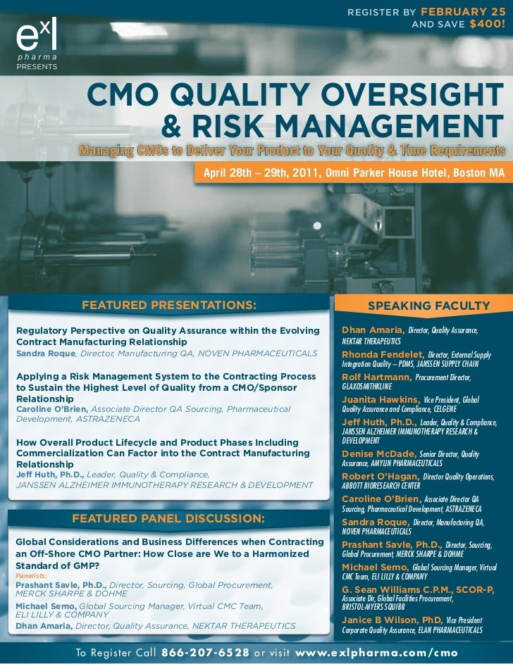 CMO Quality Oversight & Risk Management, April 2011, Boston