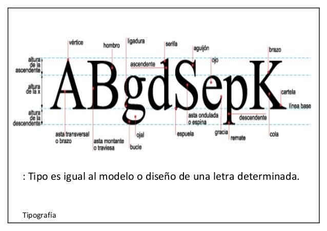 Tipografía : Tipo es igual al modelo o diseño de una letra determinada.