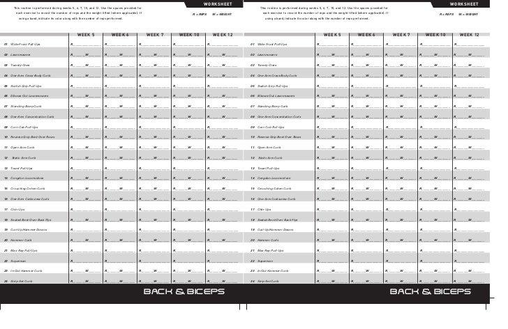 P90x Back And Biceps Worksheet p90x worksheet - treino p90x brasil