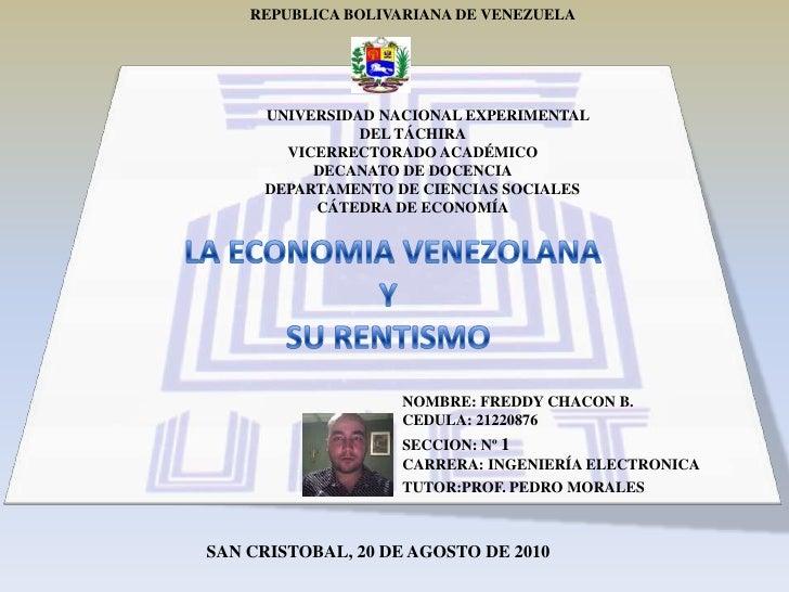 REPUBLICA BOLIVARIANA DE VENEZUELA<br />UNIVERSIDAD NACIONAL EXPERIMENTAL<br />DEL TÁCHIRA<br />VICERRECTORADO ACADÉMICO<b...