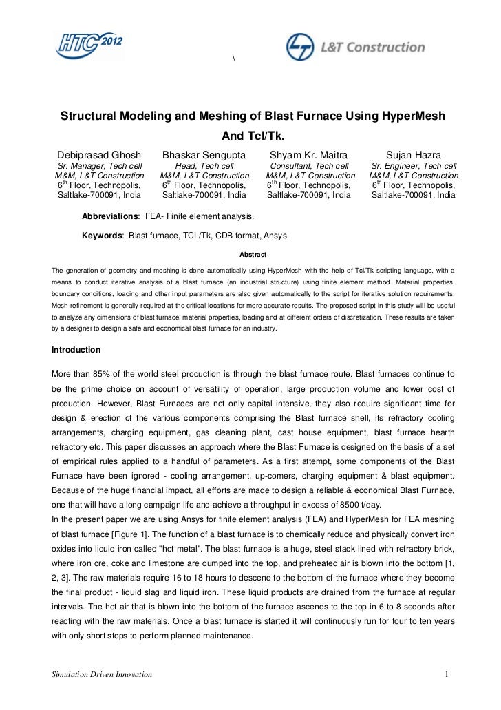Structural Modeling and Meshing of Blast Furnace Using HyperMesh                                                          ...