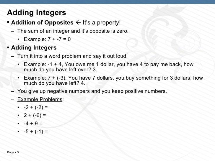 Adding positive and negative integers worksheet pdf