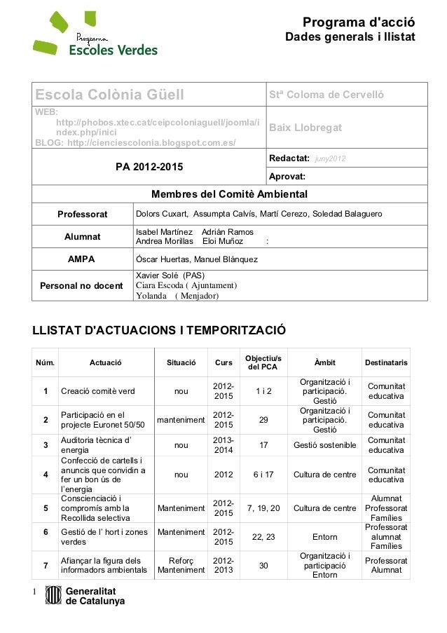 Programa dacció                                                                         Dades generals i llistatEscola Col...