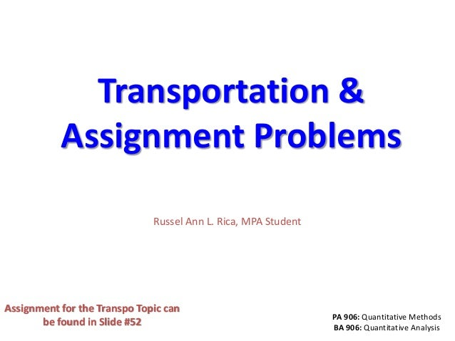 Pa 906.transportation problem and algorithms final