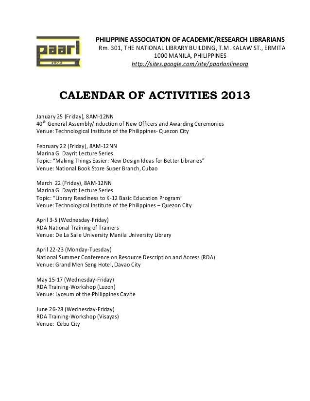 Paarl 2013 calendar of activities