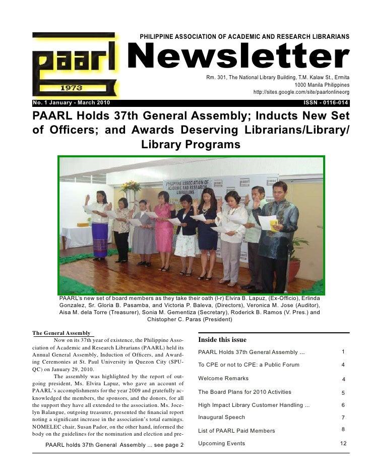 PAARL Newsletter, Jan-Mar 2010