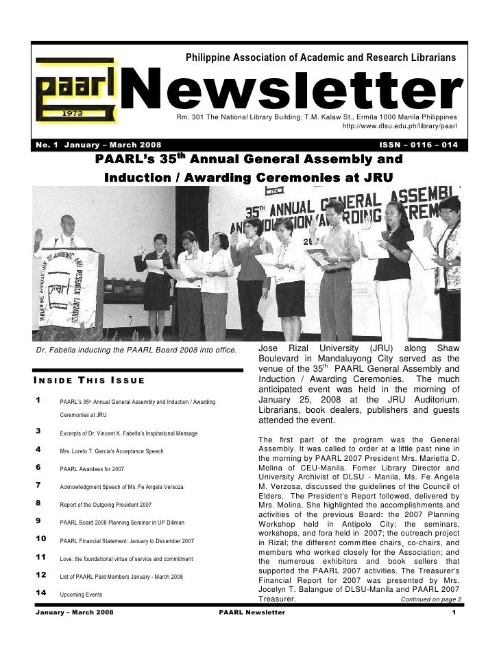 Philippine Association of Academic and Research Librarians                                  Newsletter              Rm. 30...