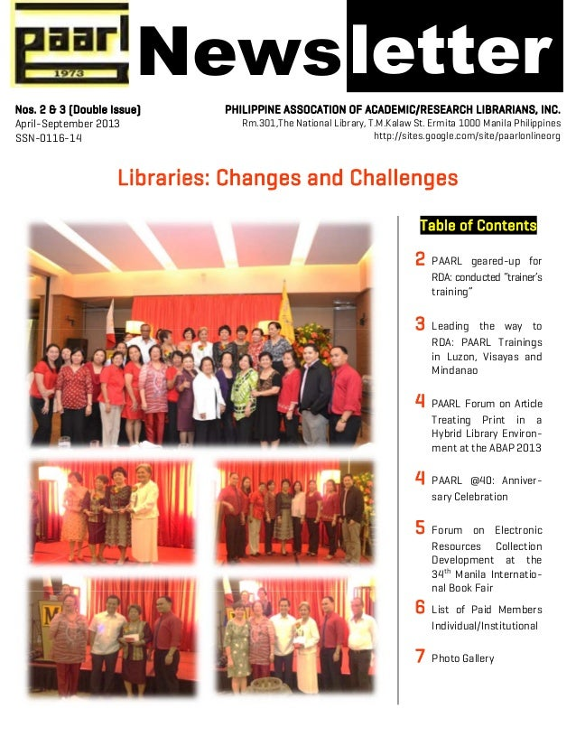 "! ! Libraries: Changes and Challenges Table of Contents 2 PAARL geared-up for RDA: conducted ""trainer's training"" 3 Leadin..."
