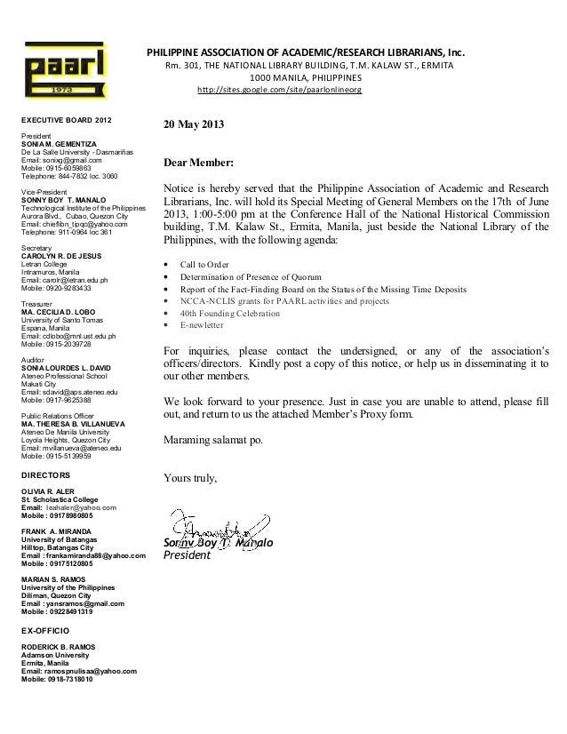 Paarl notice of special meeting
