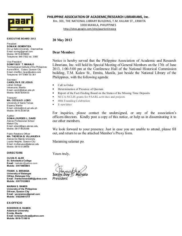 Paarl notice of special meeting