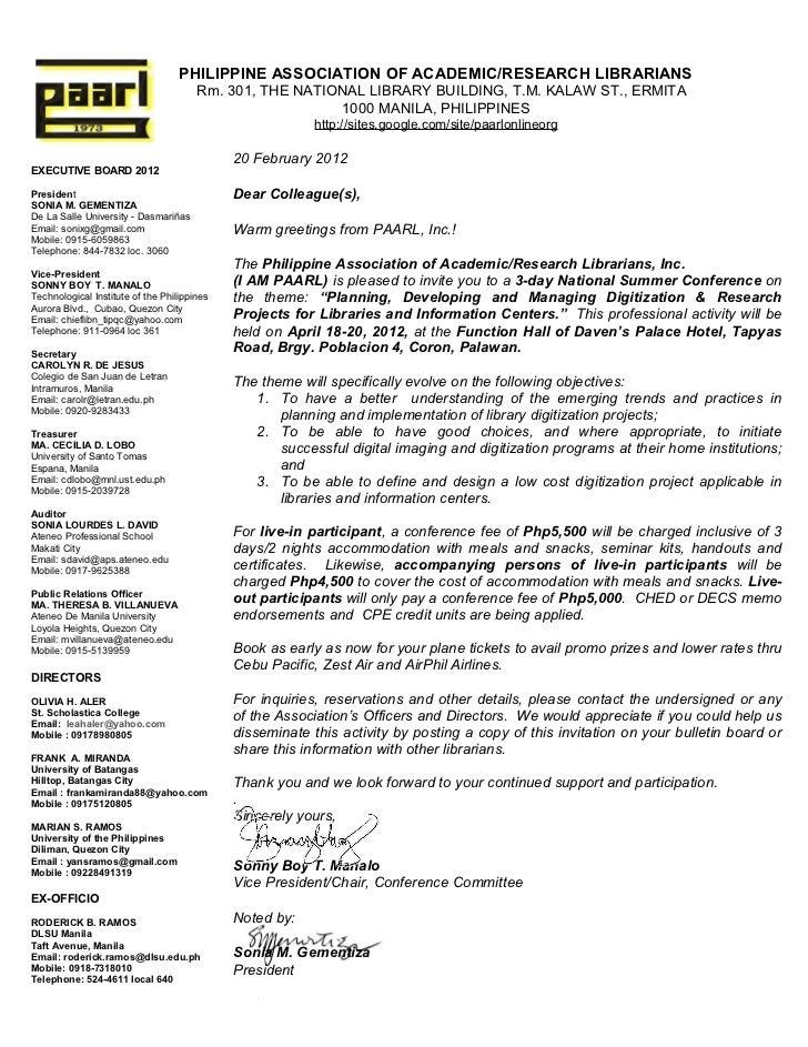 Paarl summer conference invitation