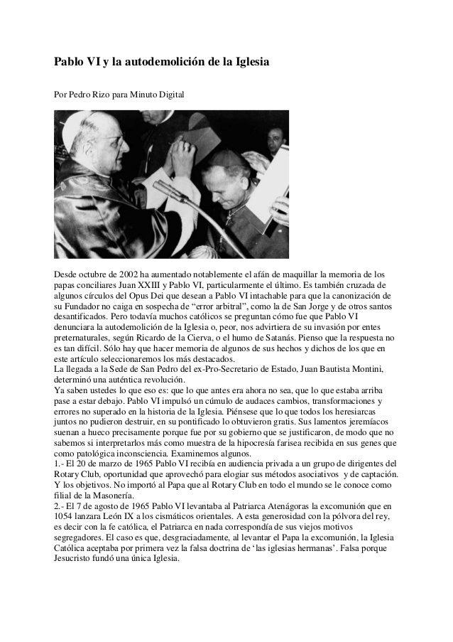 Pablo VI y la autodemolición de la iglesia.