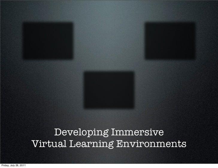 Developing Immersive Virtual Learning Environments | Storyboard