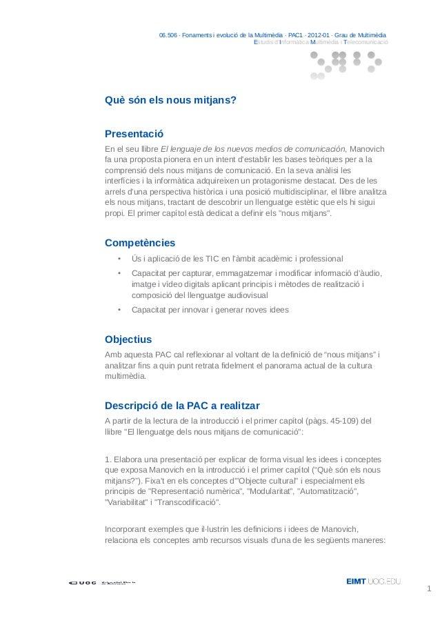 06.506 · Fonaments i evolució de la Multimèdia · PAC1 · 2012-01 · Grau de Multimèdia Estudis d'Informàtica Multimèdia i Te...