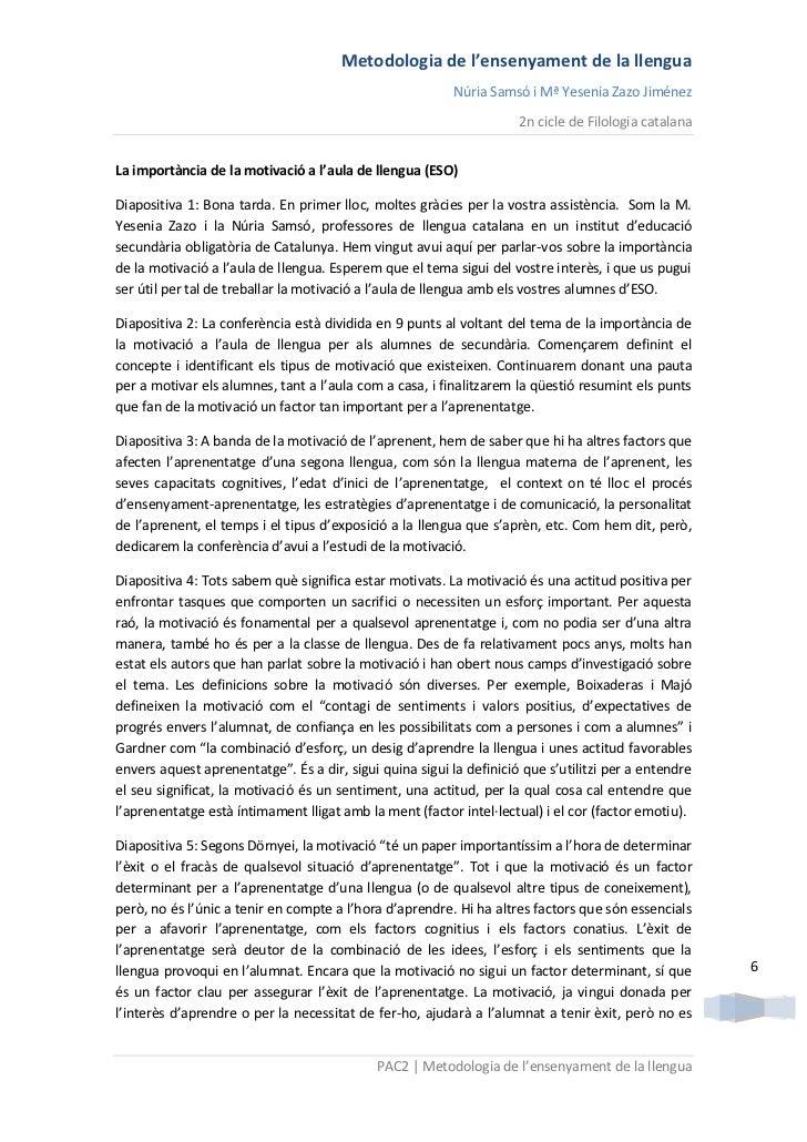 Metodologia de l'ensenyament de la llengua                                                          Núria Samsó i Mª Yesen...
