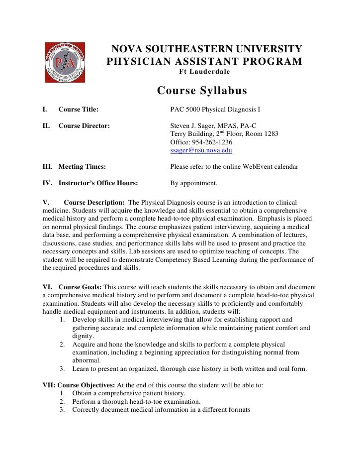 NOVA SOUTHEASTERN UNIVERSITY                                          PHYSICIAN ASSISTANT PROGRAM                         ...