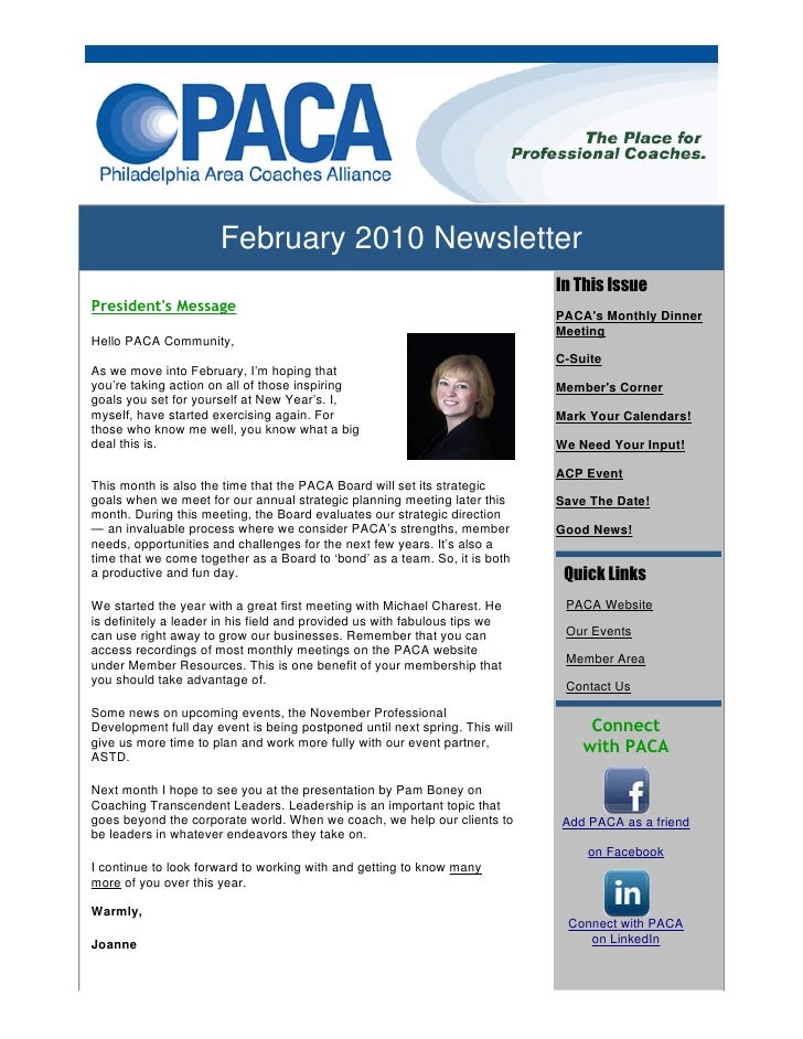 February 2010 Newsletter                                                                              In This Issue Presid...