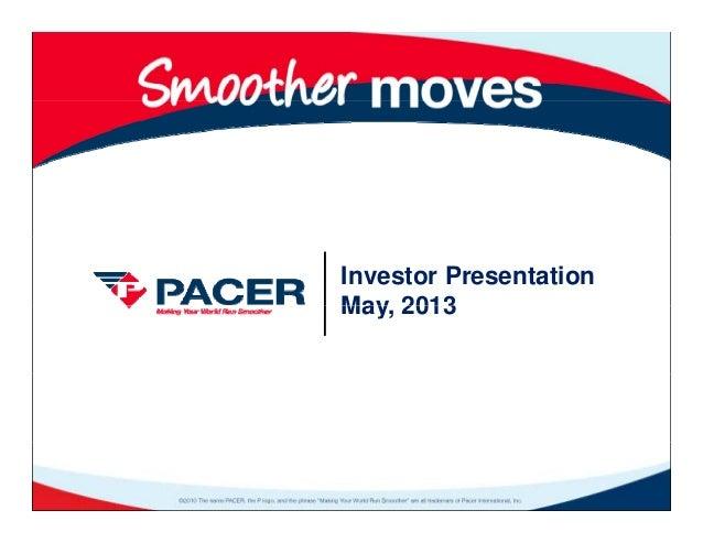Investor PresentationMay 2013May, 2013