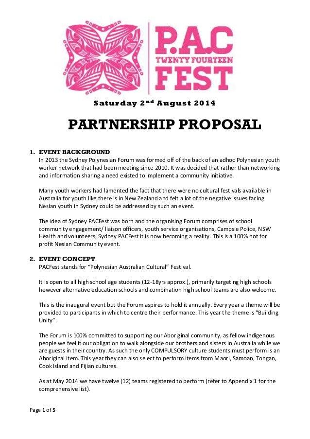 Sydney PACFest 2014- Partnership Proposal