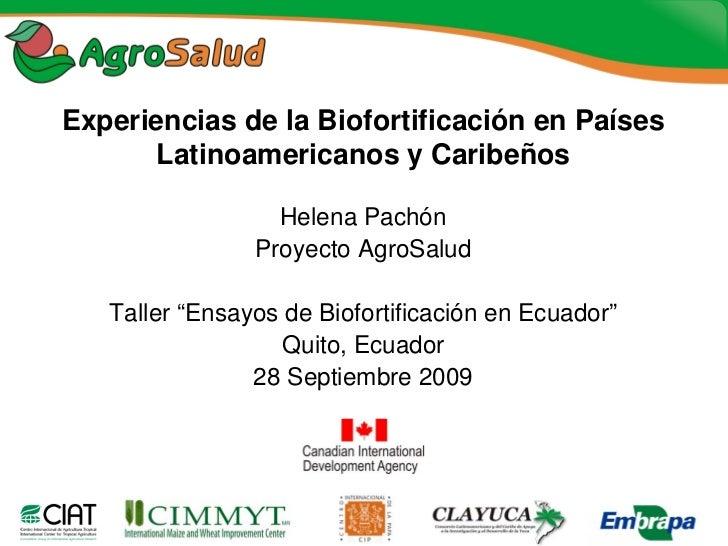 Experiencias de la Biofortificación en Países       Latinoamericanos y Caribeños                    Helena Pachón         ...