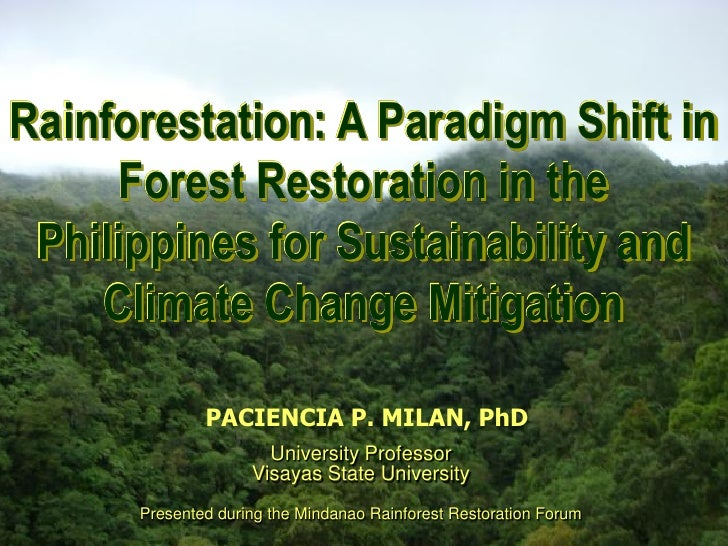 Rainforestation: A Paradigm Shift in Rainforestation Farming: A Paradigm Shift in Forest        Restoration       Forest R...