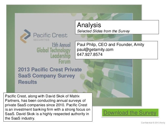 Analysis Selected Slides from the Survey Confidential © 2013 Amity Download the Survey Pacific Crest, along with David Sko...