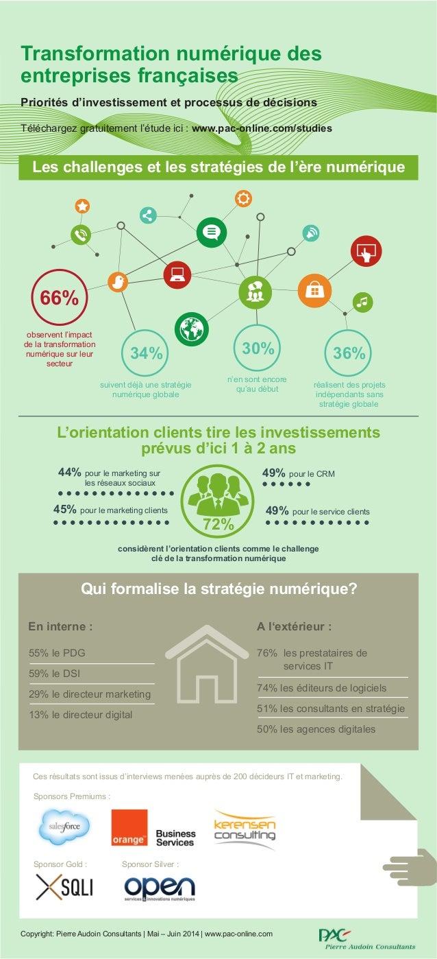 Transformation numérique des entreprises françaises Priorités d'investissement et processus de décisions Ces résultats son...