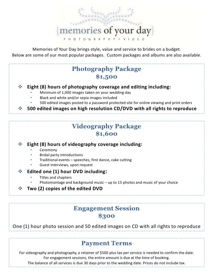wedding photography package pricing memories of your day