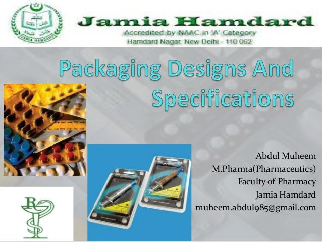 Packaging designs and specifications