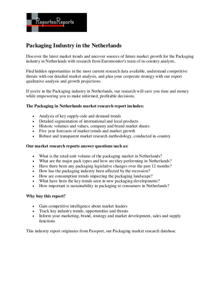 Packaging industry in the netherlands