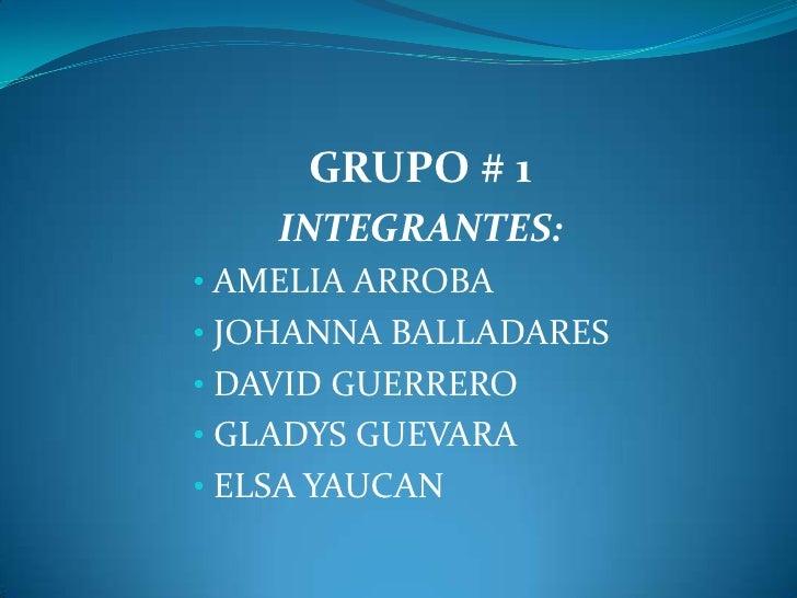 GRUPO # 1    INTEGRANTES:• AMELIA ARROBA• JOHANNA BALLADARES• DAVID GUERRERO• GLADYS GUEVARA• ELSA YAUCAN
