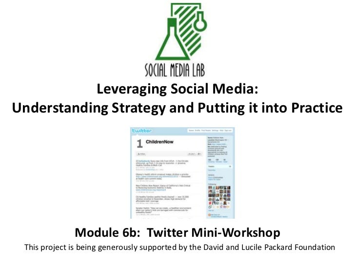 Leveraging Social Media:Understanding Strategy and Putting it into Practice<br />Module 6b:  Twitter Mini-Workshop<br />Th...