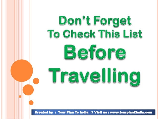 Packing list for your travel