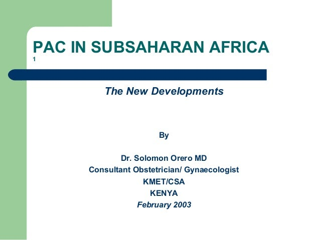 Post-Abortion Care in Sub-Saharan Africa: New Developments