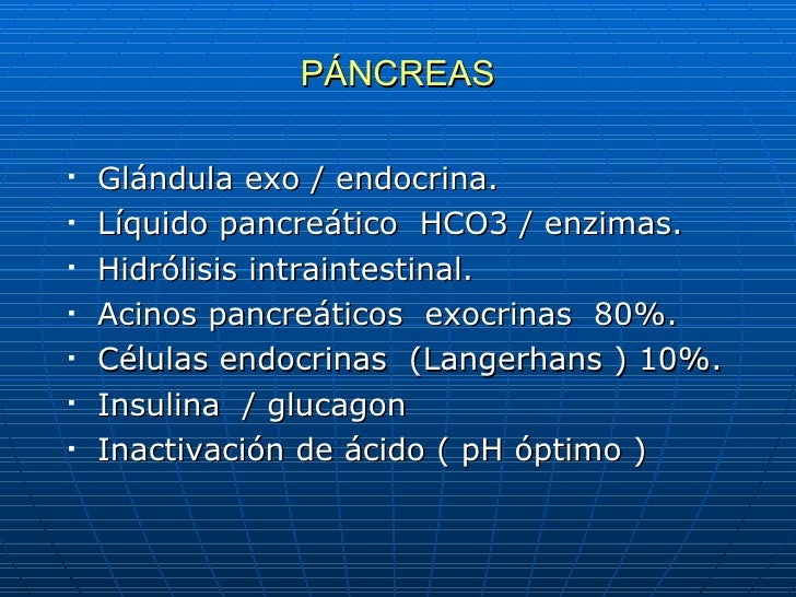 PÁNCREAS <ul><li>Glándula exo / endocrina. </li></ul><ul><li>Líquido pancreático  HCO3 / enzimas. </li></ul><ul><li>Hidról...