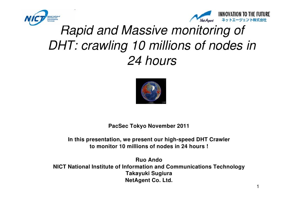 Rapid and Massive monitoring ofDHT: crawling 10 millions of nodes in             24 hours                   PacSec Tokyo N...
