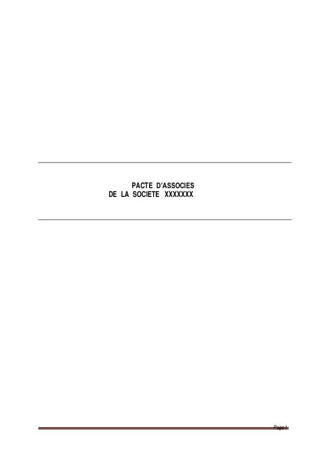 PACTE D'ASSOCIES DE LA SOCIETE XXXXXXX Page 1