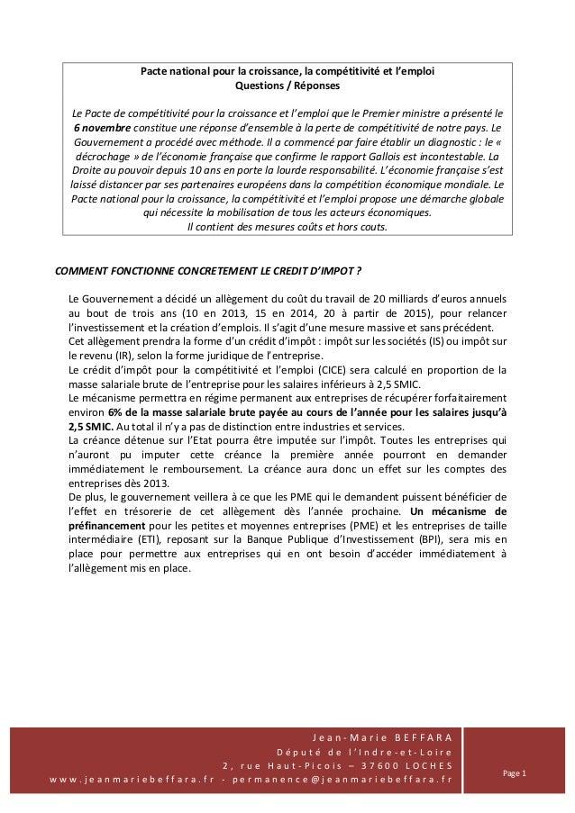 Pacte national pour la croissance, la compétitivité et l'emploi                                     Questions / Réponses  ...