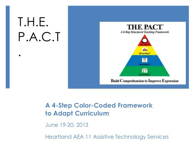 A 4-Step Color-Coded Frameworkto Adapt CurriculumJune 19-20, 2013Heartland AEA 11 Assistive Technology ServicesT.H.E.P.A.C...