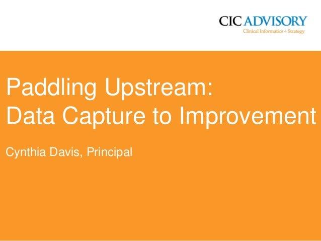 Paddling Upstream: Data Capture to Improvement Cynthia Davis, Principal