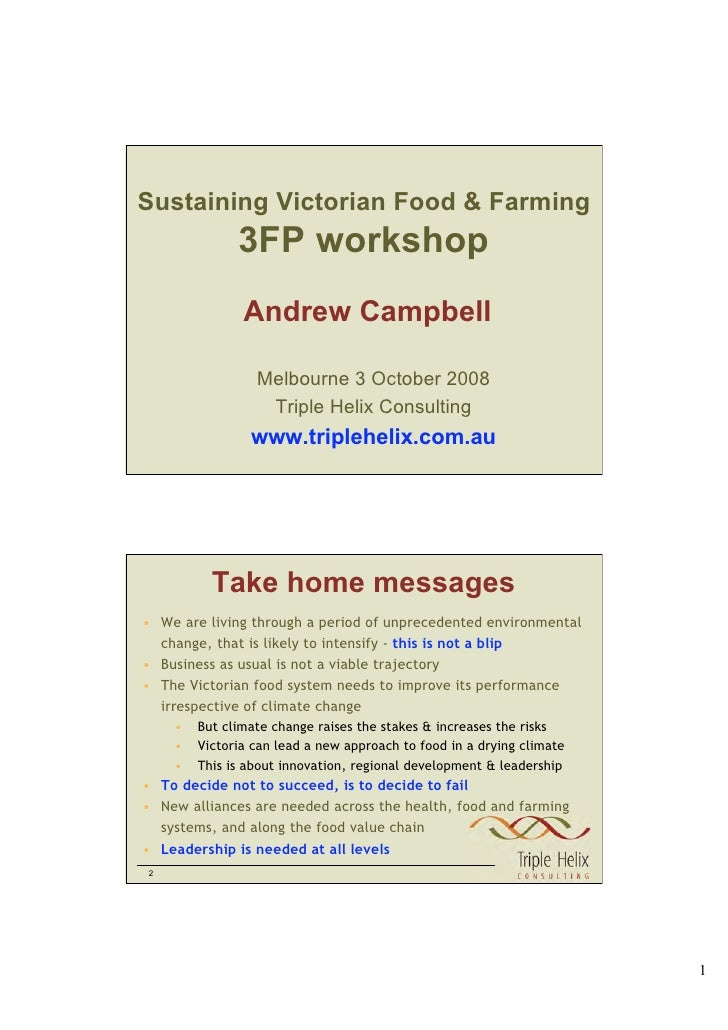 Sustaining Victorian Food & Farming               3FP workshop                Andrew Campbell                   Melbourne ...