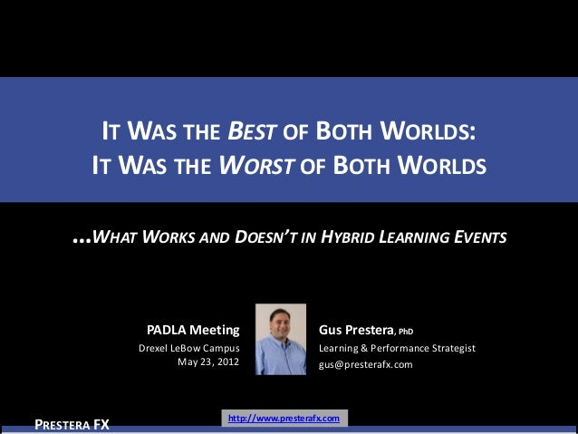 IT WAS THE BEST OF BOTH WORLDS:        IT WAS THE WORST OF BOTH WORLDS     …WHAT WORKS AND DOESN'T IN HYBRID LEARNING EVEN...