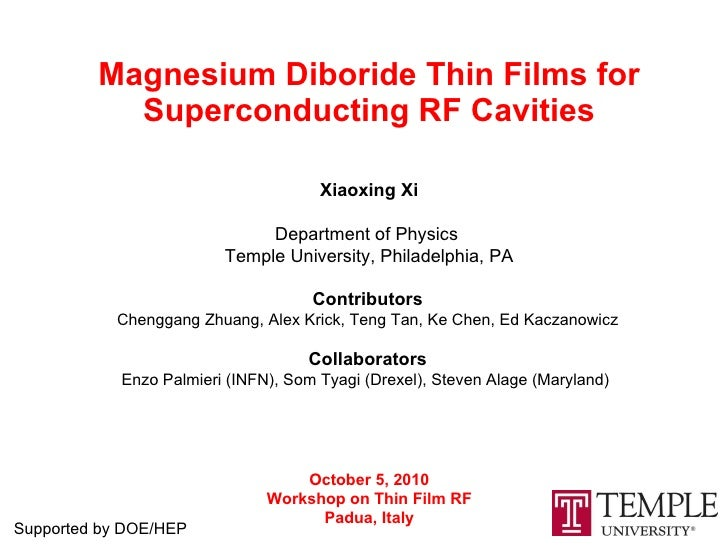 Magnesium Diboride Thin Films for Superconducting RF Cavities Xiaoxing Xi Department of Physics  Temple University, Philad...