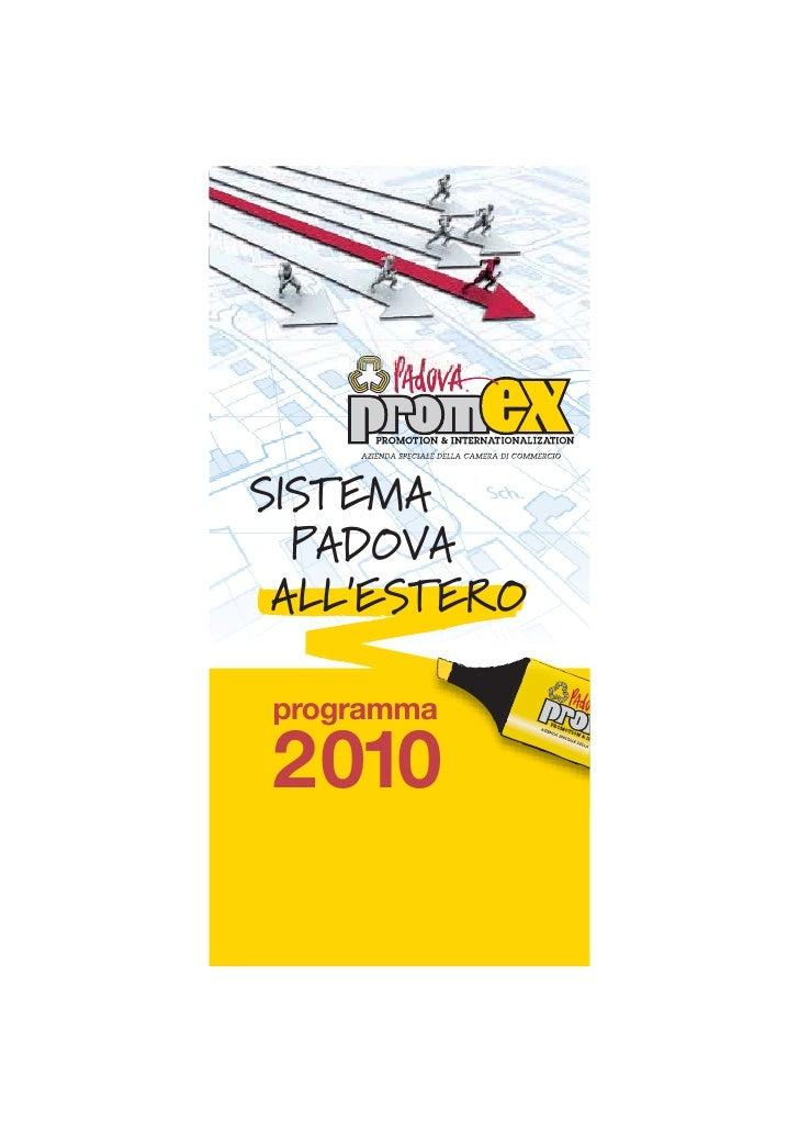 SISTEMA   PADOVA  ALL'ESTERO  programma  2010
