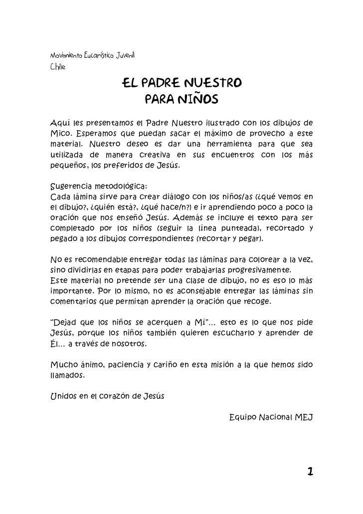 Movimiento Eucarístico Juvenil Chile                          El Padre nuestro                              para niños Aqu...