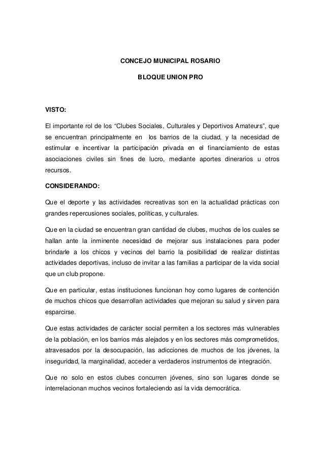 """CONCEJO MUNICIPAL ROSARIO  BLOQUE UNION PRO  VISTO:  El importante rol de los """"Clubes Sociales, Culturales y Deportivos Am..."""