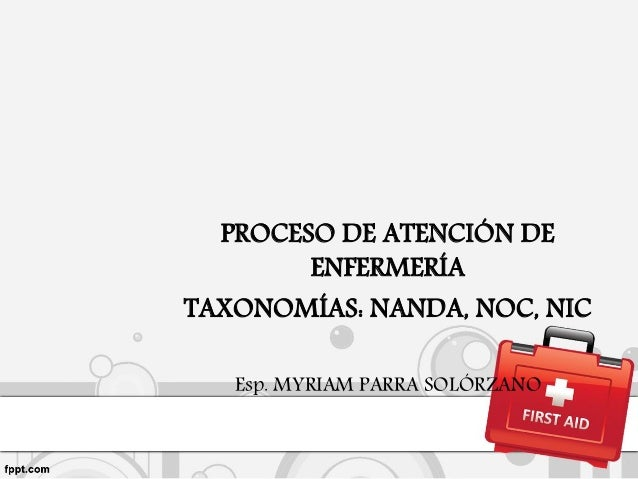 PROCESO DE ATENCIÓN DE ENFERMERÍA TAXONOMÍAS: NANDA, NOC, NIC Esp. MYRIAM PARRA SOLÓRZANO