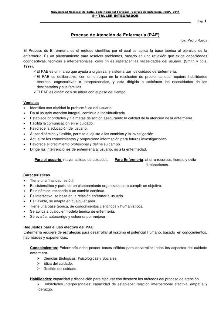 Universidad Nacional de Salta. Sede Regional Tartagal . Carrera de Enfemería. IESP. 2011                                  ...