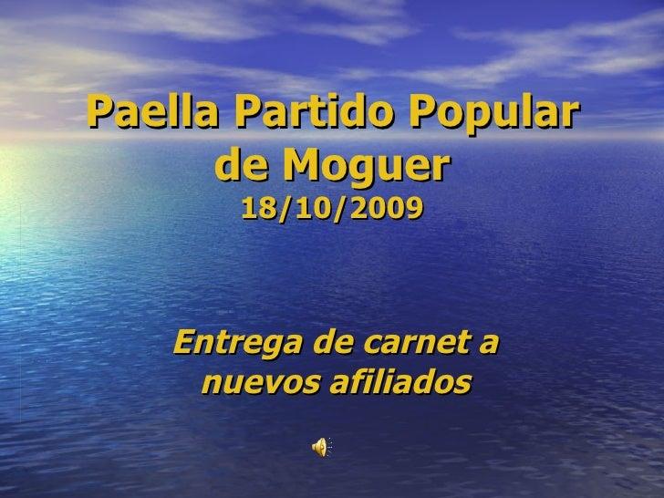 Paella Partido Popular de Moguer 18/10/2009 Entrega de carnet a nuevos afiliados